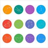 Zodiaków gwiazdozbiory Mieszkanie cienki set prosty Zdjęcia Royalty Free