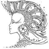 Zodiaków Pisces szyldowa czarny i biały rysunkowa dziewczyna z włosy jak żebro ryby Iroquois ilustracji