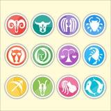 Zodiaków symbole Mieszkanie cienki set prosty round Zdjęcia Stock