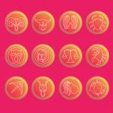 Zodiaków symbole Mieszkanie cienki set prosty round Obraz Stock