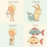 Zodiaków znaki, śliczni postać z kreskówki Zdjęcia Royalty Free