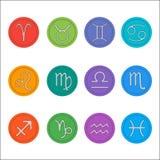 Zodiaków znaki Mieszkanie cienki set prosty round zodiak Fotografia Royalty Free