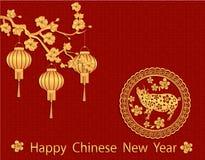 Zodiak świnia Chińska świnia nowy rok Rysunek świnia, Sakura i lampiony w złocie z cieniem, ilustracji