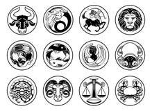 Zodiak astrologii horoskopu gwiazda podpisuje symbole ustawiających Obrazy Royalty Free