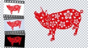 Zodiak av svinet Det kinesiska svinet av det nya året kommer med välstånd och lycka Olika bakgrunder illustration vektor illustrationer