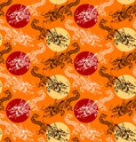 Chinese dragon pattern 3. Zodiak Chinese dragon pattern with orange background Royalty Free Stock Photos