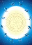 Zodiak circle postcard. With twelve horoskope symbols Royalty Free Stock Photography