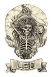 Zodiak czaszka Leo Ręka rysunek na papierze Fotografia Royalty Free