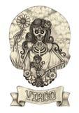 Zodiak czaszka Virogo Ręka rysunek na papierze Zdjęcia Stock