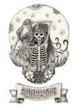 Zodiak czaszki Aquarius Ręka rysunek na papierze Zdjęcia Stock