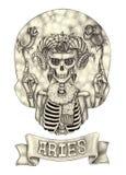 Zodiak czaszki Aries Ręka rysunek na papierze Zdjęcia Royalty Free
