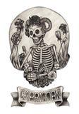 Zodiak czaszki Capricorn Ręka rysunek na papierze Zdjęcie Stock
