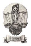 Zodiak czaszki Libra Ręka rysunek na papierze Fotografia Stock