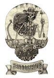 Zodiak czaszki Sagittarius Ręka rysunek na papierze Obraz Royalty Free