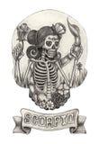 Zodiak czaszki Scorpio Ręka rysunek na papierze Fotografia Royalty Free