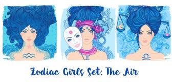 Zodiak dziewczyny ustawiać: Powietrze Wektorowa ilustracja Aquarius, gemini, ilustracji