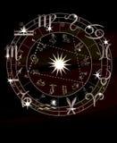 Zodiak gwiazdy z zodiaków znakami i okrąg horoskop Przepowiednia przyszłość Raster ilustracja royalty ilustracja