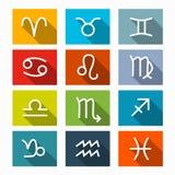 Zodiak - horoskopsymbolsuppsättning Fotografering för Bildbyråer