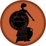 Zodiak i stilen av forntida Grekland cancer stock illustrationer