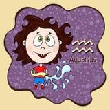 Zodiak kreskówki szyldowy Aquarius, astrologiczny charakter, ręka rysunek Malujący śmieszny aquarius w ramie w postaci abstrakta Obraz Stock