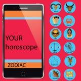 Zodiak och smartphone Fotografering för Bildbyråer