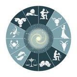 Zodiak och utrymme stock illustrationer