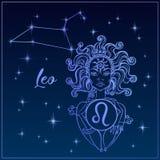 Zodiak szyldowy Leo piękna dziewczyna Gwiazdozbiór Leo pozyskiwania ilustracyjny błyskawica nocne niebo horoskop astrologia wekto ilustracji