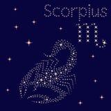 Zodiak szyldowy Scorpius na gwiaździstym niebie ilustracja wektor