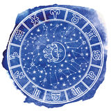 Zodiak undertecknar in horoskopcirkeln blå vattenfärg Royaltyfria Bilder
