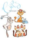 Zodiak undertecknar in katter: beståndsdelen av luft Arkivbilder
