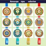 Zodiak undertecknar tema Uppsättning av mandalas med librazodiaktecken Zentangle inspirerade mandalas royaltyfri illustrationer