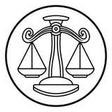Zodiak undertecknar Vågvågsymbolen Arkivfoto