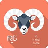 Zodiaka Aries szyldowej ikony płaski projekt Obrazy Royalty Free