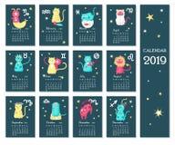 2019 zodiaka kalendarzowy wektorowy szablon z ślicznymi kotami ilustracji