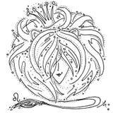 Zodiaka Leo szyldowy czarny i biały rysunek dziewczyna z włosy lubi lwa grzywę ilustracja wektor