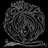 Zodiaka Leo szyldowy czarny i bia?y rysunek dziewczyna z w?osy lubi lwa grzyw? royalty ilustracja