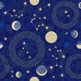 Zodiaka niebo Abstrakcjonistyczny bezszwowy wektoru wzór z gwiazdozbiorami Zdjęcia Stock
