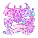 Zodiaka nowotwór Samotny marznący drzewo ilustracji