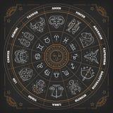 Zodiaka okrąg z horoskopów znakami Cienki kreskowy wektorowy projekt Astrologia symbole i mistyczka znaki royalty ilustracja
