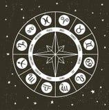 Zodiaka okrąg z horoskopów znakami Ręka rysująca wektorowa ilustracja ilustracji