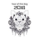 2018 zodiaka pies projekta nowy rok abstrakcjonistycznych gwiazdkę tła dekoracji projektu ciemnej czerwieni wzoru star white równ Zdjęcie Royalty Free