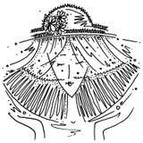 Zodiaka szyldowego Libra czarny i biały rysunkowa dziewczyna w kapeluszu w postaci zodiaka znaka Libra ilustracja wektor