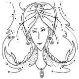 Zodiaka szyldowego nowotworu czarny i biały rysunkowa dziewczyna z warkoczami w postaci pazura nowotworu ilustracja wektor