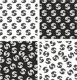 Zodiaka Szyldowego nowotworu Wyrównujący & Przypadkowy Bezszwowy wzoru set royalty ilustracja