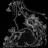 Zodiaka szyldowego Virgo czarny i bia?y rysunkowa dziewczyna z kwiatami i ro?linami w jej w?osy ilustracji