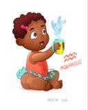Zodiaka szyldowy Aquarius Amerykanin Afrykańskiego Pochodzenia Śliczna dziewczyna Cieszy się pluśnięcia w Żywieniowej filiżance W royalty ilustracja