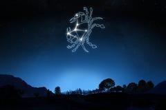 Zodiaka Szyldowy nowotwór z gwiazdy i symbolu konturem Obraz Stock