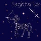 Zodiaka szyldowy Sagittarius na gwiaździstym niebie ilustracji