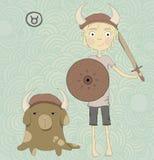 Zodiaka szyldowy Taurus. Chłopiec z kordzikiem i shiel ilustracja wektor