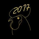 Zodiaka złota kogut również zwrócić corel ilustracji wektora symbolu nowy rok Zdjęcie Stock
